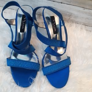 Nina metallic blue strappy heels pumps sz 8